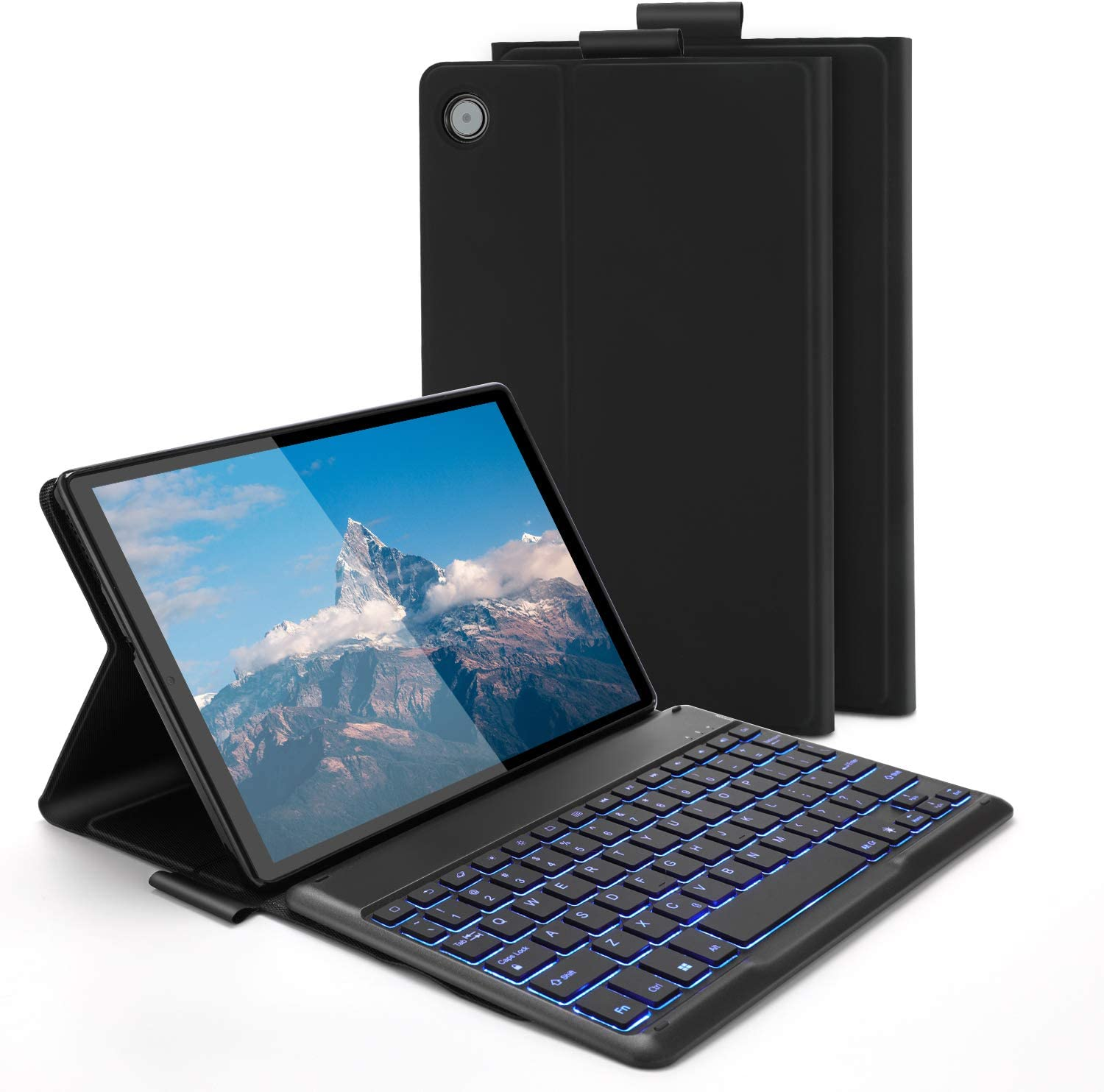 """Backlit Bluetooth Keyboard Case for Lenovo Tab M10 Plus 10.3"""" TB-X606F, Jelly Comb Wireless Detachable Keyboard Case with Protective Cover, Black"""