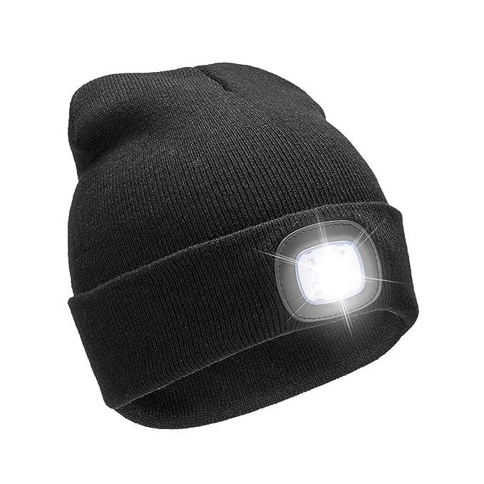 6e46e6108d7b0 USB Rechargeable 4 LED Lighted Beanie Cap,Unisex Winter Warmer Knit Cap  Hands Free Hat