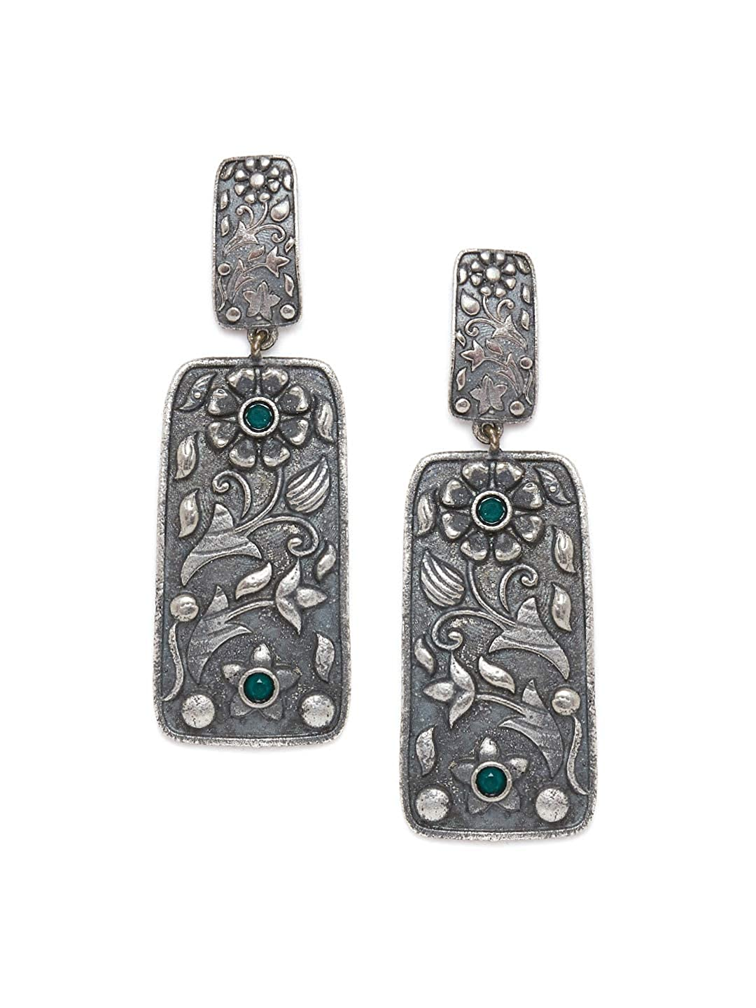 ZeroKaata/ Fashion Jewellery Geometrical Brass Based Silver Plated Earrings With Floral Motifs For Women /& Girls