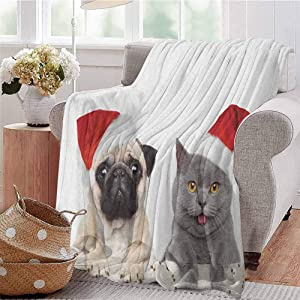 Luoiaax Pug Bedding Flannel Blanket Christmas Themed Animal Photography with a Cat and Dog Wearing Santa Hats Print Super Soft and Comfortable Luxury Bed Blanket W54 x L72 Inch Grey Cream Red