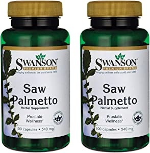 Swanson Saw Palmetto Herbal Supplement for Men Prostate Health Hair Supplement Urinary Health 540 mg 100 Capsules (2 Pack)