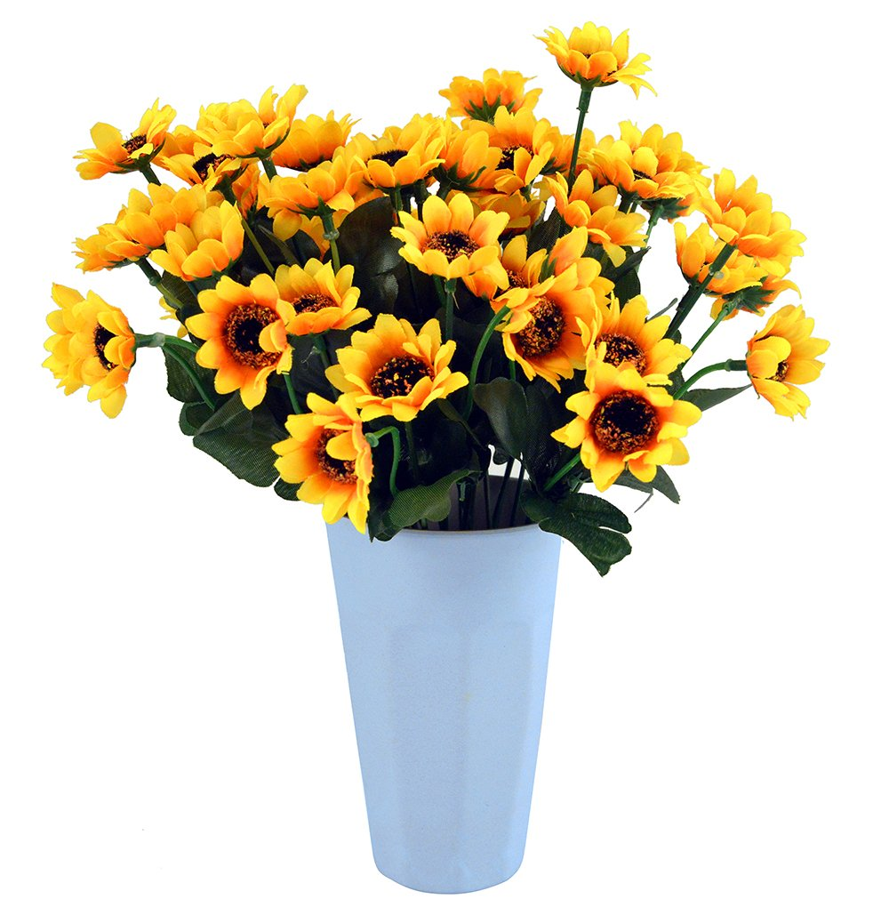 silk flower arrangements kinwell 10 bunches silk artificial sunflowers bouquet fake sunflower decorations for home decor and wedding decorations