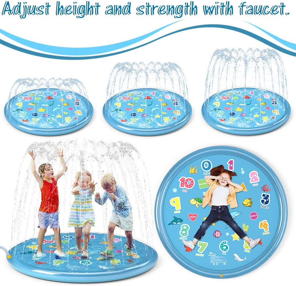 """Jasonwell Sprinkler for Kids Splash Pad Play Mat 60"""" Baby Wading Pool for Toddlers Summer Outdoor Water Toys Kids Sprinkler Pool for Boys Girls Children Numbers Learning Age 1 2 3 4 5 6 7 8: Toys & Games"""