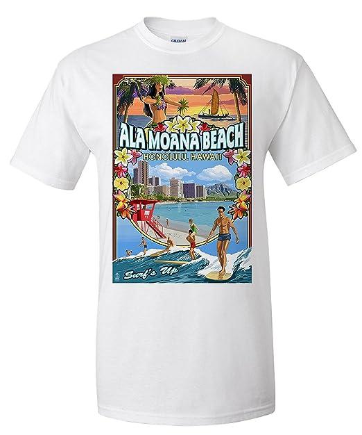 Ala Moana Beach - Honolulu, Hawaii - Montage Scene (Premium T-