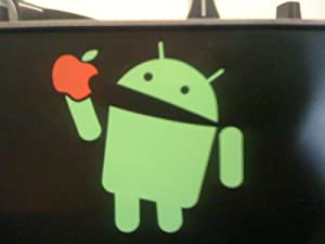 Android Eating Apple - Funny Vinyl Decal Bumper Sticker / Decal