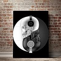 tableau tête de mort noir et blanc 3