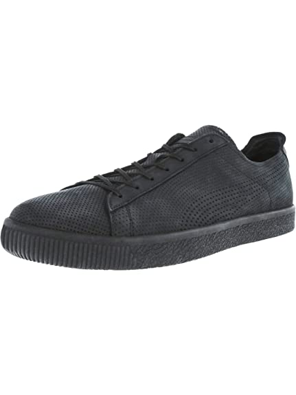 huge selection of 1100c 1f532 PUMA X Stampd Clyde Mens Black Leather Lace Up Sneakers ...