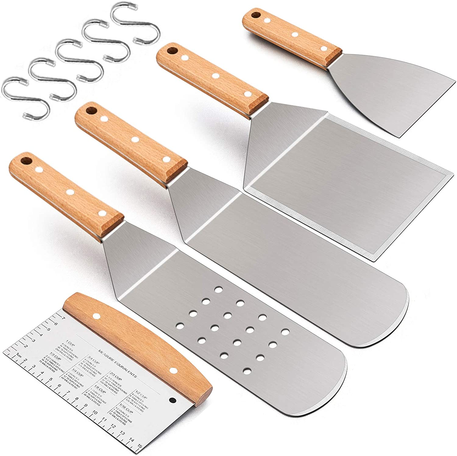 Leonyo 5PCS Griddle Accessories Set, Stainless Steel Grill Metal Turner Spatula - Heavy Duty Food Grade Hamburger Turner, Teppanyaki Pancake Burger Flipper for Flat Top Cast Iron BBQ Hibachi Cooking