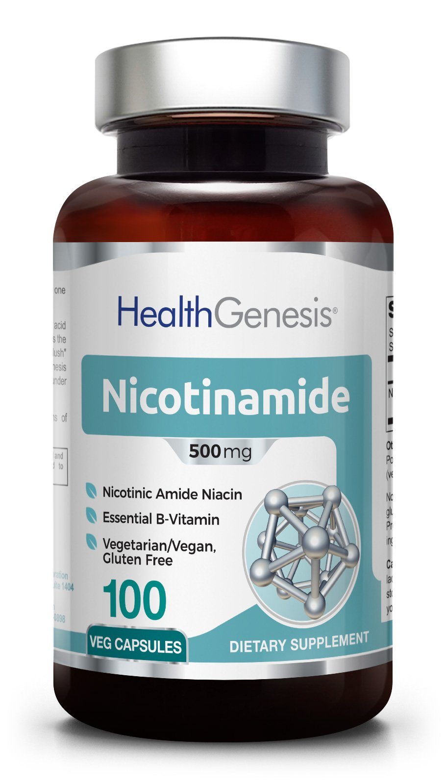 B3 Nicotinamide 500 mg 100 Vegetarian Capsules - Natural Flush-Free Vitamin Vcaps Formula | Gluten-Free Nicotinic Amide Niacin | Supports Skin Health | Healthy Cell Repair Support