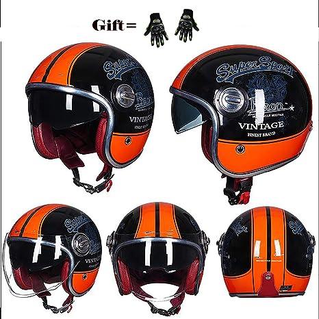 MMGIRLS Medio Casco de Motocicleta Retro, Casco Harley de ...