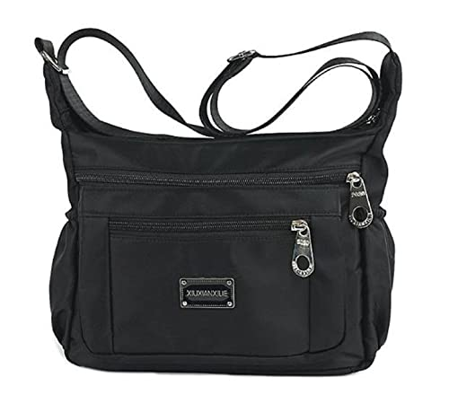 46463f2c91 Women s Nylon Cross body Handbag Messenger Bags Shoulder Bag Lightweight  Waterproof (Black)  Handbags  Amazon.com