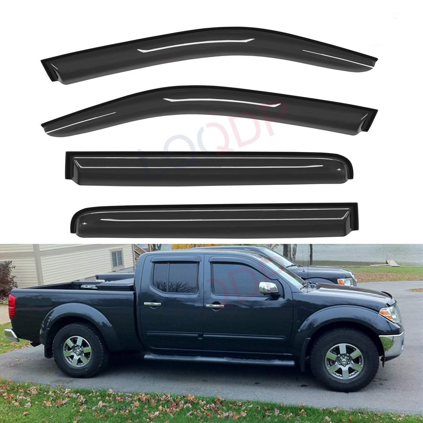 LQQDP 4pcs Front+Rear Smoke Sun//Rain Guard Outside Mount Tape-On Window Visors Fit 05-18 Nissan Frontier Crew Cab With 4 Full Size Doors