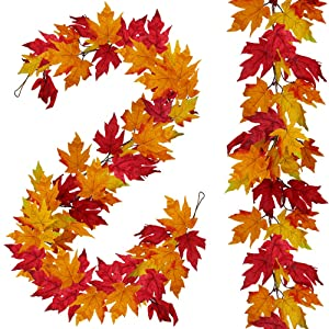 2 Pack Fall Maple Leaf Garland - 6ft/Piece Artificial Fall Foliage Garland Thanksgiving Fireplace Festival Decor for Home Wedding Party