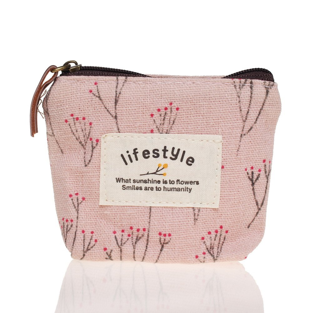 Pengxiaomei Change Purse, Printed Canvas Change Coin Purse Small Cute Change Cash Bag Coin Purse Change Holder Zip Pink