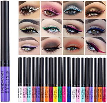 Allbestaye 12 couleurs colorées Eyeliner liquide Set mat eye liner couleur imperméable Maquillage Set Rainbow High Liner Precise