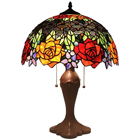 Bieye L11409 16 Inch Rose Tiffany Style Stained Glass Table Lamp 23