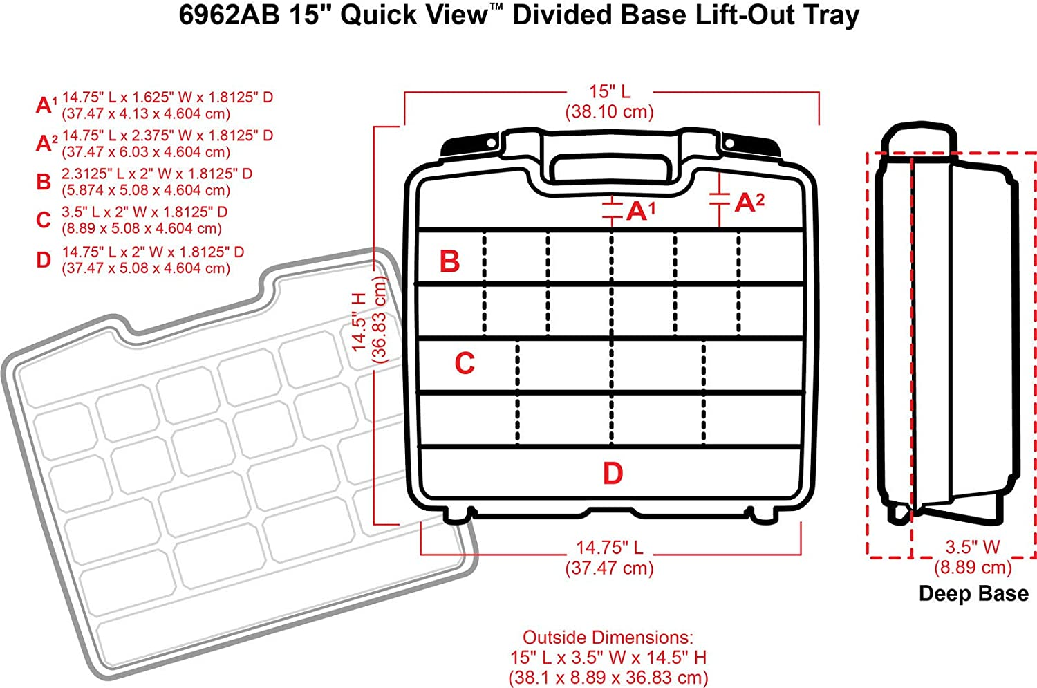 Translucent Clear 6961AB Full Depth Divided Interior ArtBin Quick View Deep Base Carrying Case