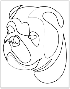 Minimalist English Bulldog Line Wall Art Decor Prints - Single (11x14) Inch Unframed Poster Photo - Puppy Dog Gift Idea