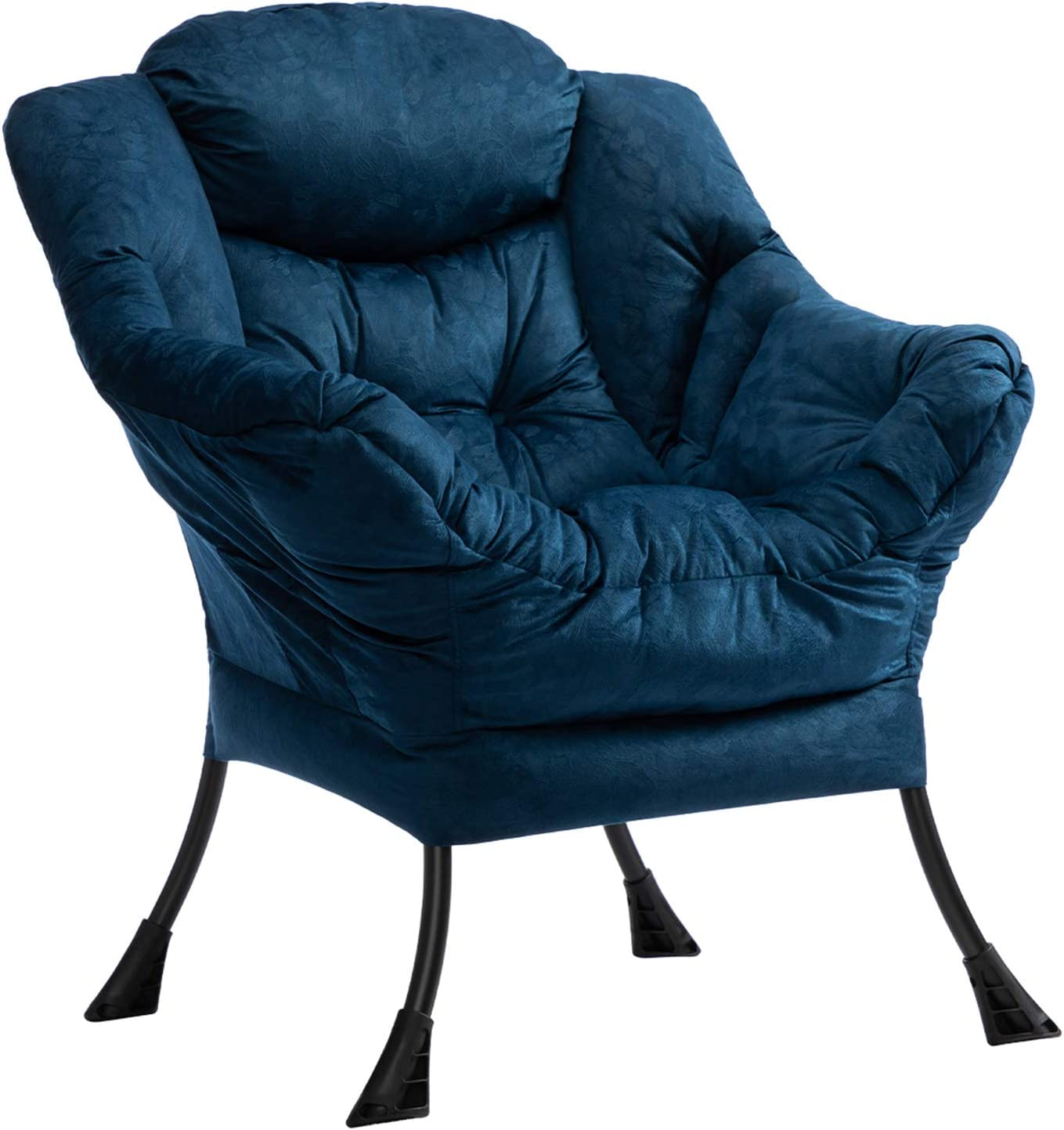AbocoFur Modern Cotton Fabric Lazy Chair, Accent Contemporary Lounge Chair, Single Steel Frame Leisure Sofa Chair with Armrests and A Side Pocket, Thick Padded Back, Dark Blue
