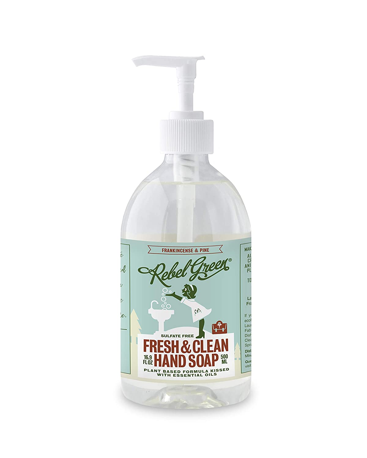 Rebel Green Fresh and Clean Hand Soap Frankincense & Pine, 16.9 oz, Pack of 4