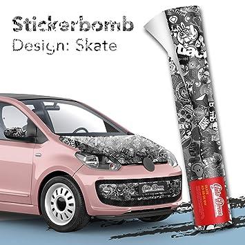 Alle Designs Alle Größen Stickerbomb Auto Folien Glänzend Oder Matt Marken Sticker Bomb Logos Jdm Aufkleber 50x150cm Skate Schwarz Weiß