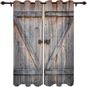 OneHoney Vintage Farm Barn Door Blackout Window Curtains for Living Room Bedroom, Grommet Thermal Insulated Windows Treatments American Native Country Style Home Decor 2 Panel Drapes, 52x96inx2