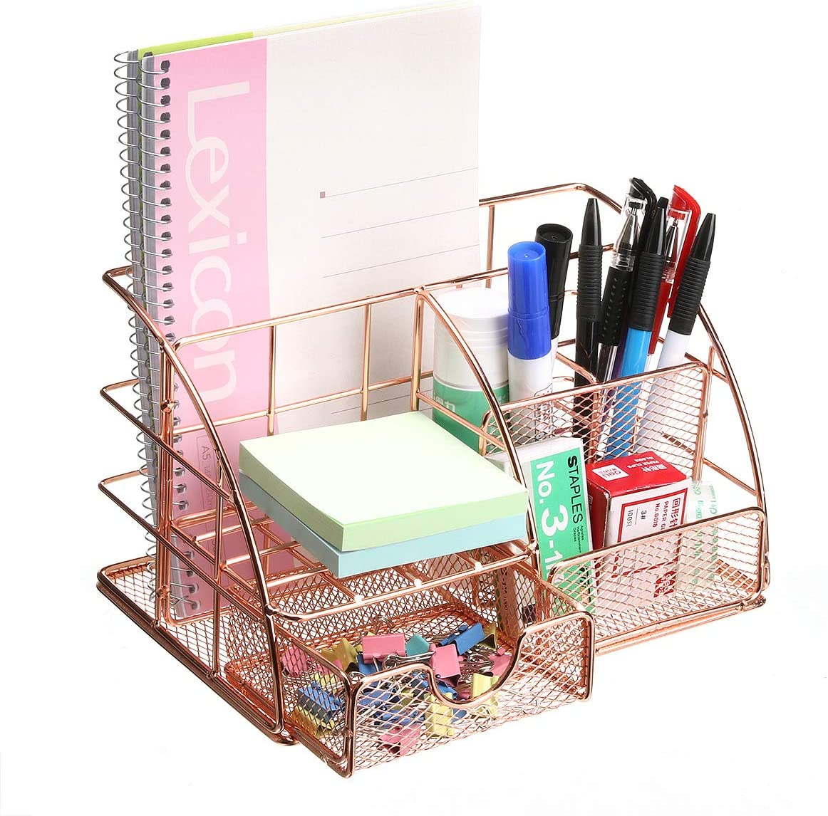 Comfook Rose Gold Desk Organizer for Women,Desk Organizers and Accessories,Mesh Office Supplies Desk Organizer Desk Accessories,6 Compartments + 1 Mini Sliding Drawer