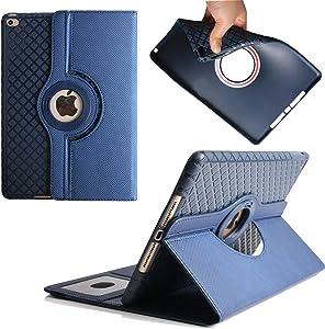 iPad 2/3/4 Case,Dream Wings 360 Degrees Rotating Multi-Angle Viewing Stand with Card Slots Slim Smart Detachable Cover for Apple iPad 2 / iPad 3 / iPad 4 9.7 inch Tablet (iPad 4/ iPad 3/ iPad 2, Blue)