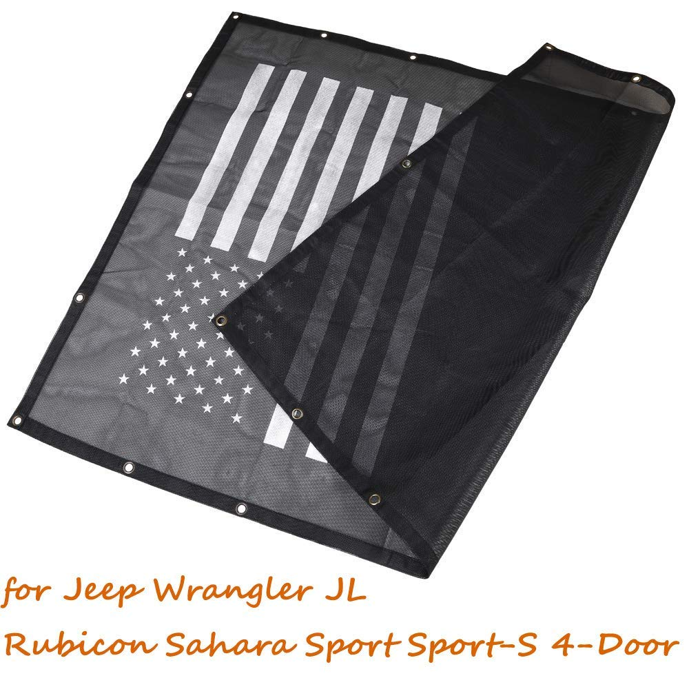 JL Sun Shade Mesh Bikini Top American Flag Sunshade UV Protection for 2018 Jeep Wrangler JL JLU All 4 Door