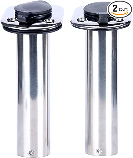 2 PC Boat Stainless Steel 90 Degree Angled Boat Fishing Rod Holder /& Caps Best