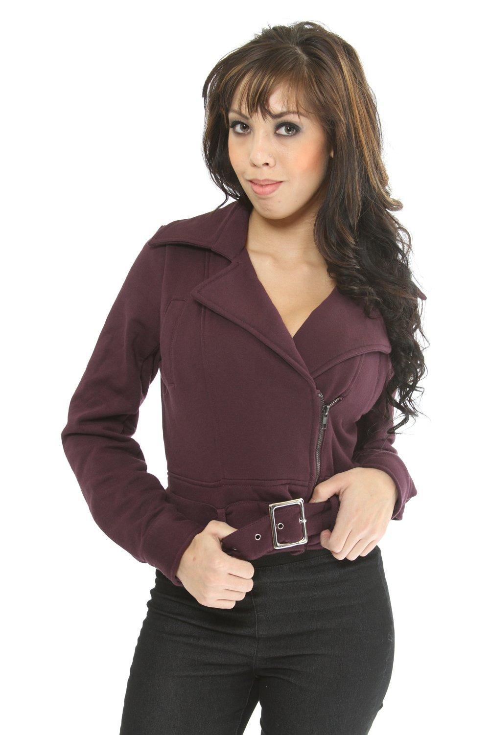 Perpetual Vogue Purple Cropped Motorcycle Style Jacket Womens Sizes: Medium