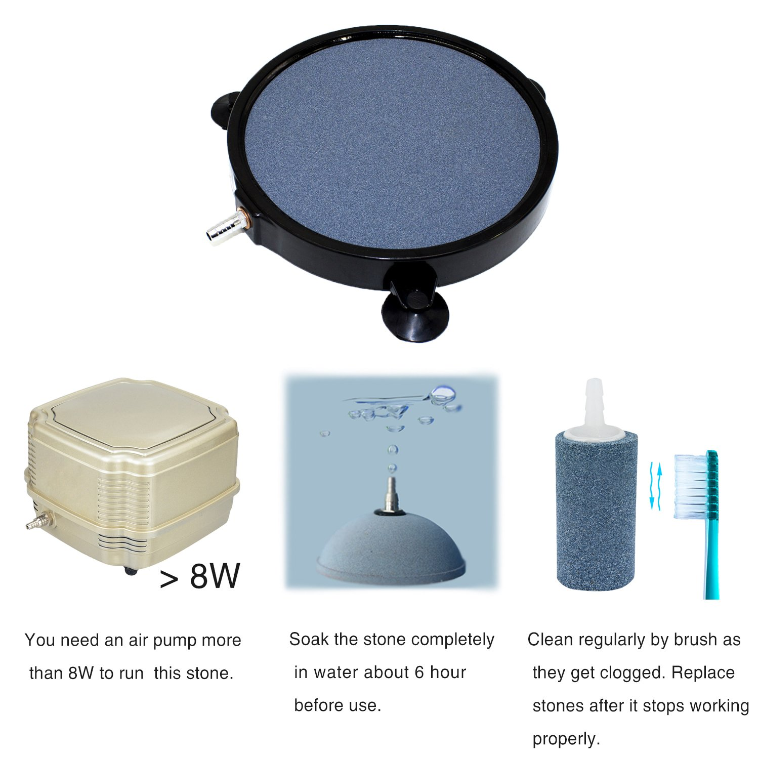 Amazon.com : Pawfly 8-Inch Diameter Air Stone Disc 3/8 Air Tube ...