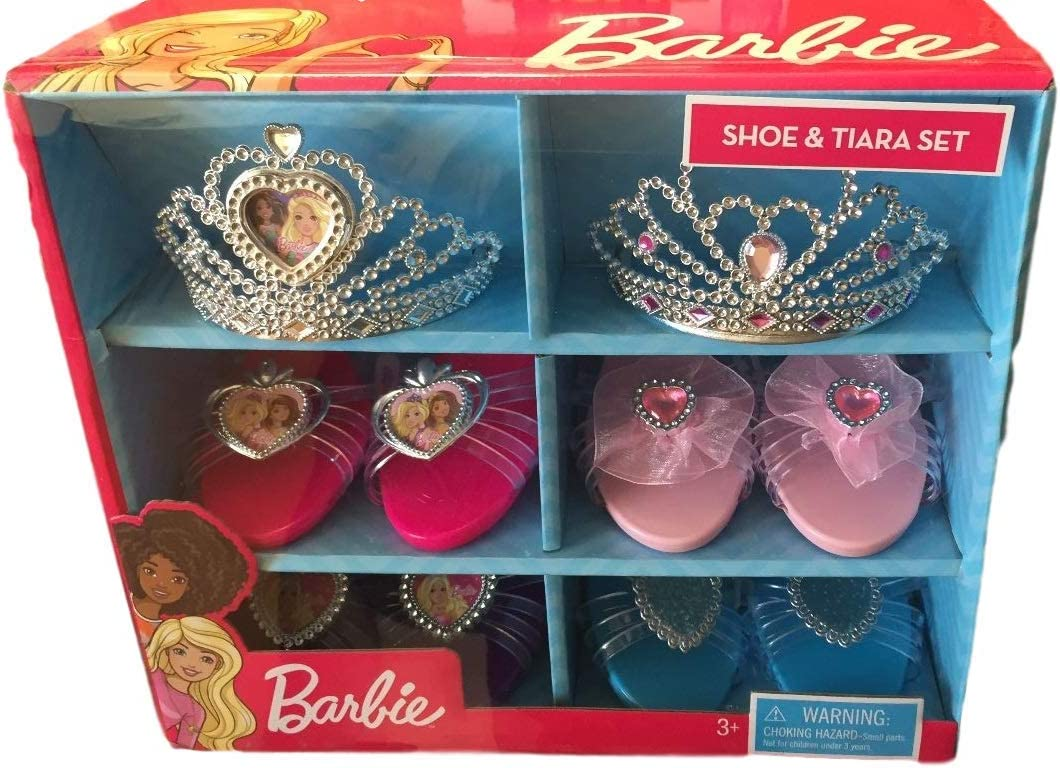 Barbie Shoe and Tiara Dress Up Set Includes 2 Crowns and 4 Pairs of Shoes for Pretend Play
