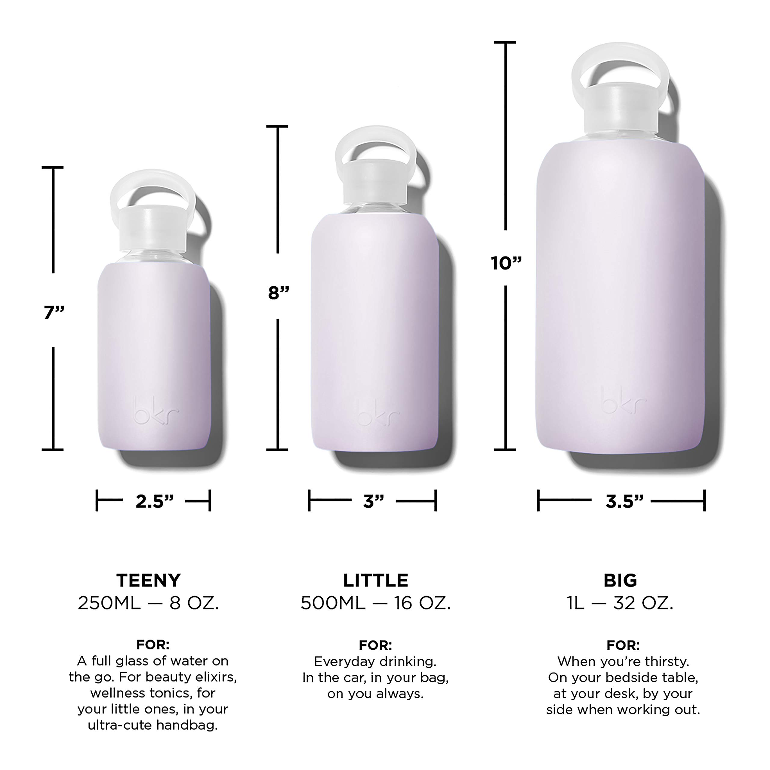 bkr Lala Glass Water Bottle with Smooth Silicone Sleeve for Travel, Narrow Mouth, BPA-Free & Dishwasher Safe, Opaque Lavender Fog, 16 oz / 500 mL by bkr (Image #5)