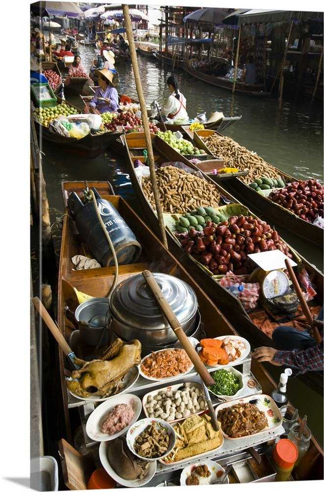 Tom Haseltine Premium Thick-Wrap Canvas Wall Art Print entitled Damnoen Saduak Floating Market, two hours Southeast of Bangkok, Thailand 16''x24'' by Canvas on Demand