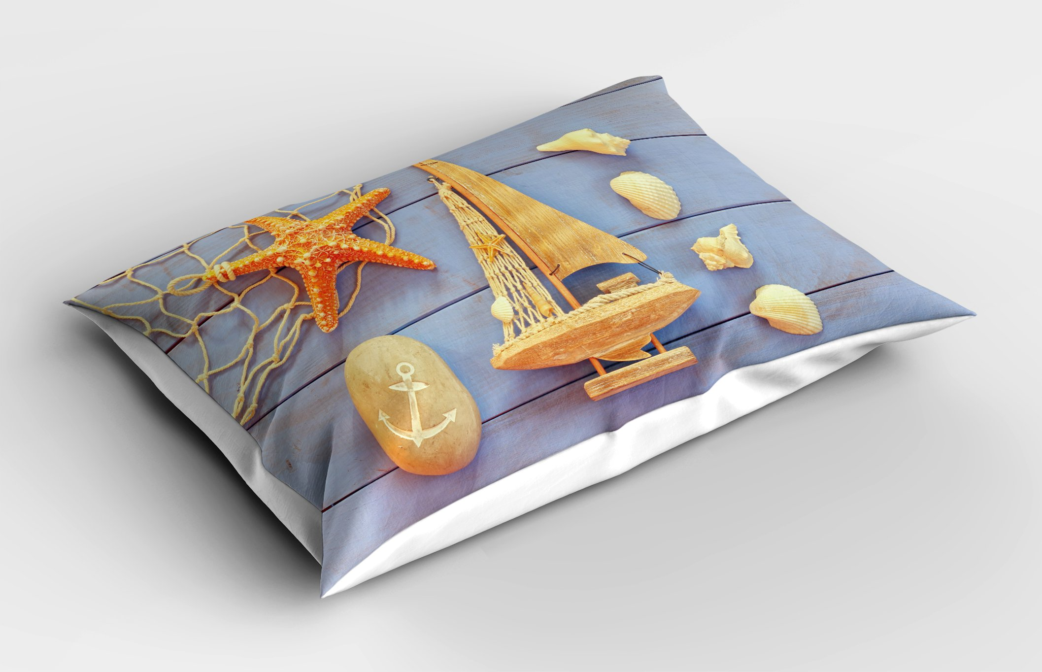 Lunarable Nautical Pillow Sham, Sea Concept on Antique Wood Back with Shells Starfish in Summer Objects Picture, Decorative Standard Size Printed Pillowcase, 26 X 20 inches, Cream Blue by Lunarable (Image #2)