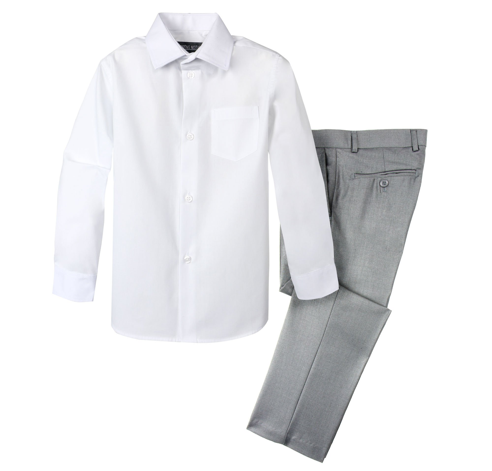Spring Notion Boys' Dress Pants and Shirt 12 Light Grey/White