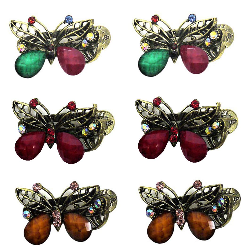 Pack of 3 Butterfly Hair Clips Beak Clip Ladies Girls Hair Accessories