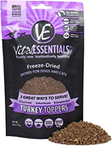Vital Essentials Freeze-Dried Grain-Free Turkey Toppers for Dogs or Cats, 6 oz.