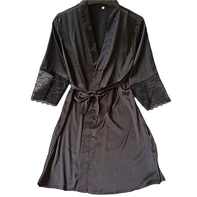 Bata de Raso Vestido de Encaje Sólido Suave Camisón Ropa de Dormir ...
