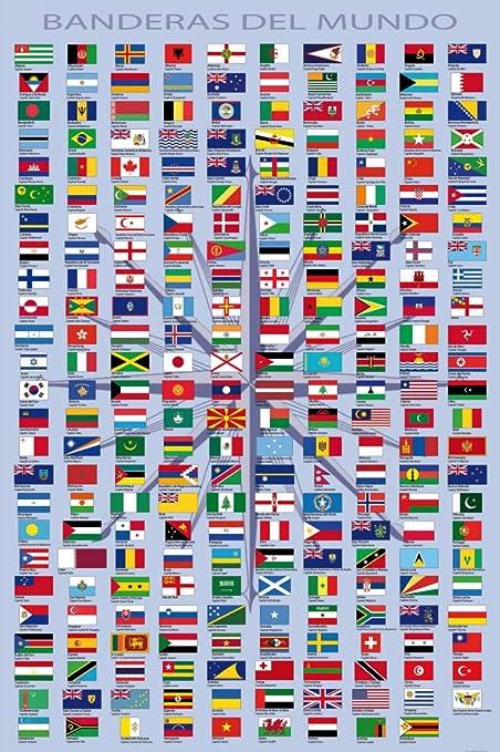 banderas de todos los paises del mundo con nombres en español