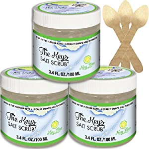 The Keys Salt Scrub : Premium Exfoliating Sea Salt Body Skin Scrubs (Key Lime, Travel Size 3 Pack 3.4 oz)