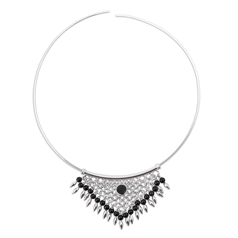 NOVICA Obsidian .925 Sterling Silver Collar Necklace 15.75 Andean Dream