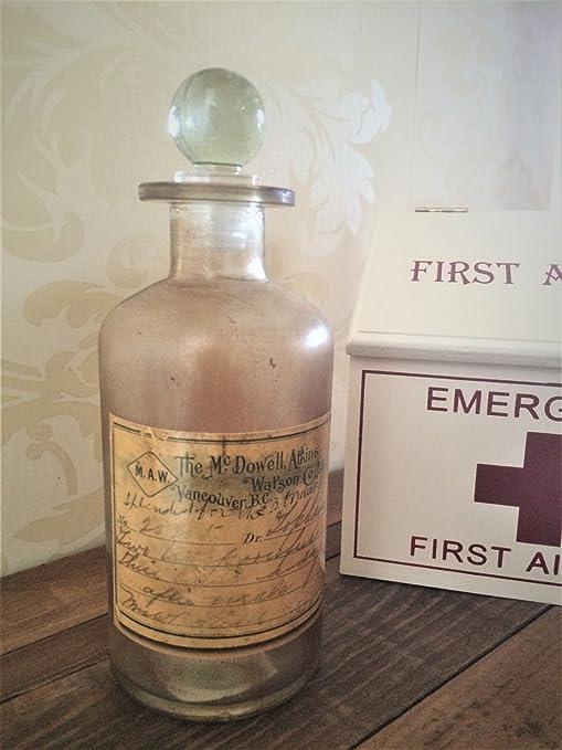Botella de la vendimia de vidrio marrón Boticario químico de la farmacia y estilo antiguo tapón