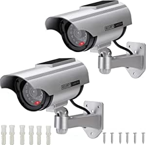 AlfaView Solar Powered Bullet Dummy Fake Surveillance Camera Security CCTV Dome Camera with LED Flashing Light for Outdoor/Indoor,Home/Business (2 Pack)