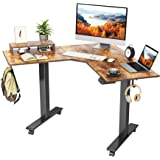FEZIBO Dual Motor L-Shaped Electric Standing Desk, 48 Inches Height Adjustable Corner Desk, Full Sit Stand Home Office Table