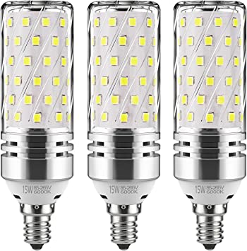 6Pack E12 Base Clear Candelabra Led Bulb 15W Non-dimmable Candle Bulb Home Decor