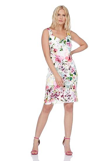 afa32591265b Roman Originals Women Floral Print Scuba Dress - Ladies Sweetheart Neckline  Sleeveless Pencil Bodycon Knee Length Occasion Summer Dresses   Amazon.co.uk  ...