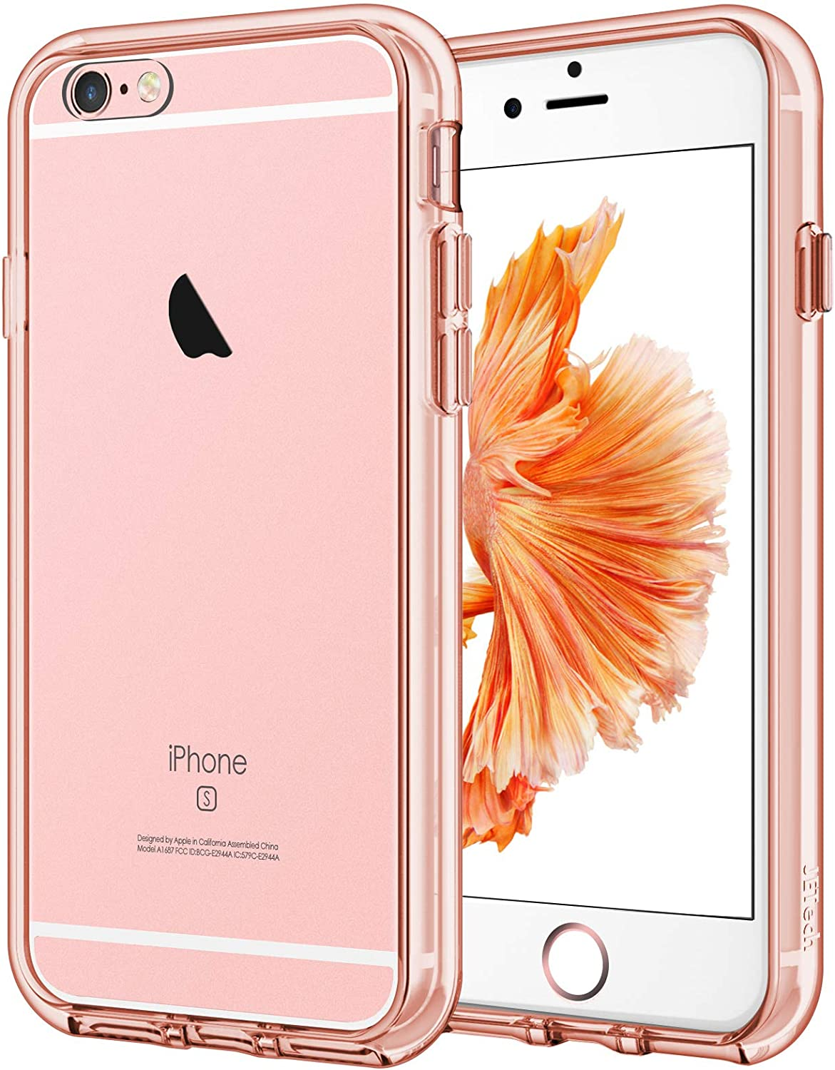 JETech Case for iPhone 6 Plus and iPhone 6s Plus 5.5-Inch, Shock-Absorption Bumper Cover, Anti-Scratch Clear Back (Rose Gold)