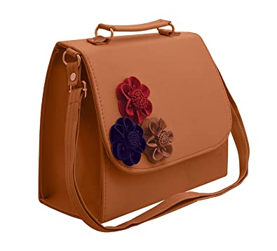 70d0674c3b7174 BFC 3D Flower Women's Sling Bag (Bhagwa): Amazon.in: Shoes & Handbags